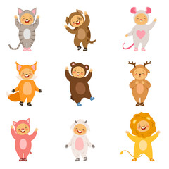 Kids party costumes of funny cartoon animals. Vector pictures isolate on white