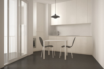 Minimalist modern kitchen with big window and dining table with chairs, white and gray architecture interior design