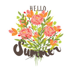 Hello, summer. Hand drawn post card template with bouquet of pink flovers. Flat   illustration