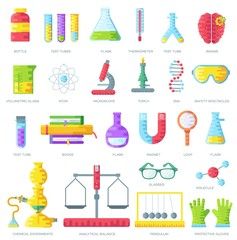 Set of scientific research elements on purple abstract template. Chemistry infographic concept background