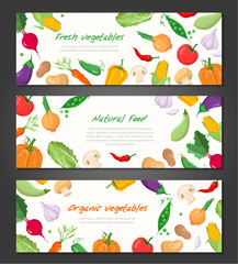 Natural food - set of modern colorful vector illustrations