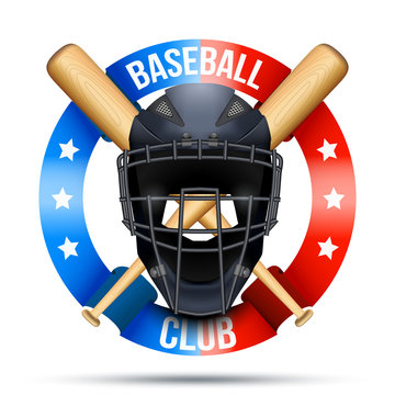 Baseball catcher mask sign with ribbons. Sporting Symbol and mascot. Vector Illustration Isolated on white background.
