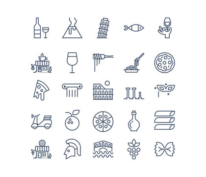 Food and culture of Italy.  Line vector icon set