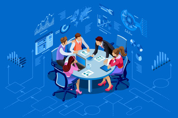 Isometric people team contemporary management concept. Can use for web banner, infographics, hero images. Flat isometric vector illustration isolated on blue background.
