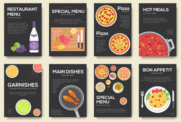 Cooking set cards with menu vector background. Cooking menu banner design