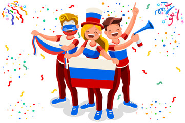 Russia 2018 world cup football supporter crowd, cheerful soccer supporters with russian flag. Isometric people celebrating national day. Vector illustration for web banner, infographics, hero images.