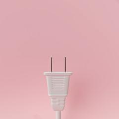 White plug on pastel pink background. 3d rendering