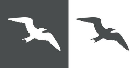 Icono plano silueta gaviota en gris y blanco