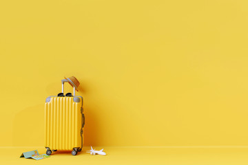 Yellow suitcase with sun glasses and hat on yellow background. 3D rendering. travel concept. minimal style Fototapete
