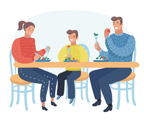 Family eating meal around kitchen table. Happy daddy, mom and their  kid sitting eating healthy lunch in home or restaurant.
