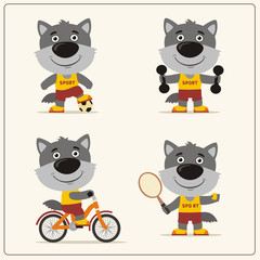 Set of funny wolf is engaged in sports. Collection of cartoon wolf of the sportsman: football player, with dumbbells, bicyclist, tennis player.