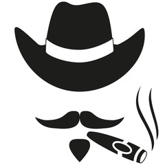 Black and white smoking cowboy avatar silhouette