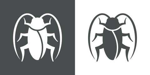Icono plano cucaracha en gris y blanco
