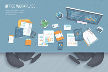 Top view of office workplace with table, armchairs, business office supplies, notebook, calendar, notepad, folder, envelope, books. Charts, graphics on a monitor screen. Vector illustration