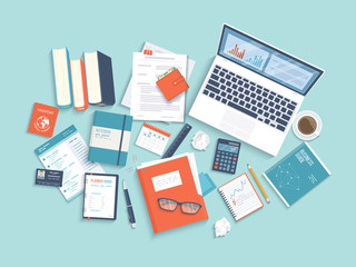 Workplace Desktop background. Top view of laptop, books, folder with documents, notepad, business card, purse, calendar, headphones, glasses, books, pencil, coffee, croissants, crumpled paper Vector