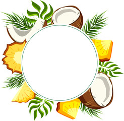 White round background with pineapple and coconut.