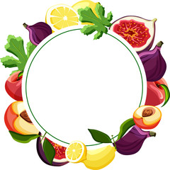 White round background with exotic fruits.