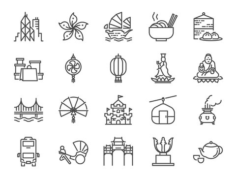 Hong Kong travel icon set. Included the icons as City, barque, Tian Tan Big Buddha