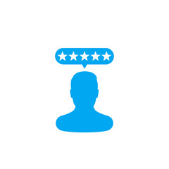 Customer review, rating vector icon on white