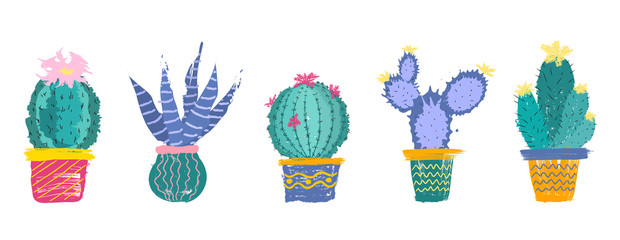 Set of drawn  cacti  with flowers