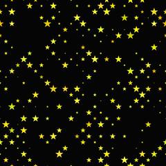 Yellow seamless pentagram star pattern background - vector design