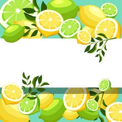 White background with limes and lemons.