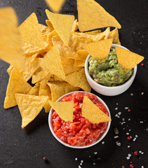 Mexican nacho chips and salsa dip