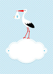 Baby Card Boy Stork Black/White Cloud Blue