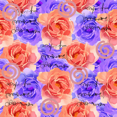 Beautiful Colorful Watercolor Rose Floral Seamless Pattern Background. Elegant illustration with pink and violet flowers.