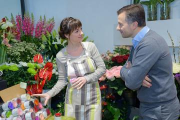 Florist serving customer