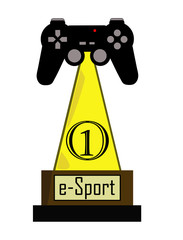 Gamer trophy of e-sport competition with first place. Prize with video games console controller at the top, concept of winning gaming competition.
