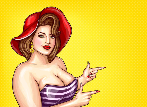 Vector brunette overweight woman in striped blouse, red hat on yellow dotted background, pop art plus size model with big breast pointing a finger at discounts, sale. Fashion illustration