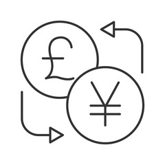 British pound and yen currency exchange linear icon