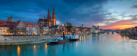 Regensburg. Panoramic cityscape image of Regensburg, Germany during spring sunset.