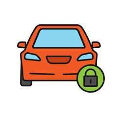 Locked car color icon