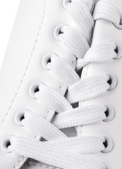 White lace on new sneaker  close up.