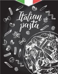 Penne pasta with cherry tomatoes and basil. Dish of Italian cuisine. Ink hand drawn background with brush calligraphy style lettering. Vector illustration. Top view. Food elements, chalkboard style.