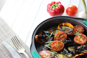 Vegetables grilled pan fried eggplant and tomatoes