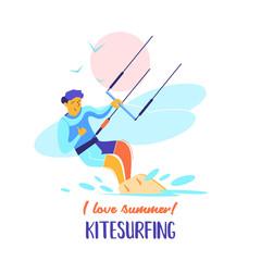 Kitesurfing. Vector illustration.