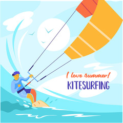 Kitesurfing. Vector illustration.