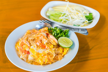 Pad Thai Stir fry noodles with eggs and shrimp popular Thailand's national dishes