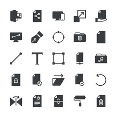 Modern Simple Set of folder, files, design Vector fill Icons. ..Contains such Icons as document,  file,  sign,  document, horizontal, paint and more on white background. Fully Editable. Pixel Perfect.
