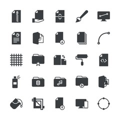 Modern Simple Set of folder, files, design Vector fill Icons. ..Contains such Icons as  web,  tablet,  vector,  design, folder, textile and more on white background. Fully Editable. Pixel Perfect.