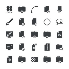 Modern Simple Set of folder, files, design Vector fill Icons. ..Contains such Icons as  print,  ink,  art,  concept, remove, data,  vector and more on white background. Fully Editable. Pixel Perfect.
