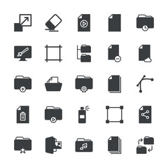 Modern Simple Set of folder, files, design Vector fill Icons. ..Contains such Icons as  web,  design, data,  drawing,  erase, star, box and more on white background. Fully Editable. Pixel Perfect.