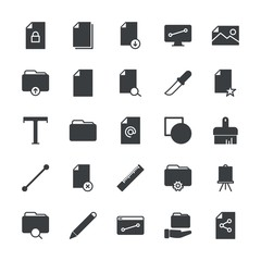 Modern Simple Set of folder, files, design Vector fill Icons. ..Contains such Icons as folder, internet,  upload,  color,  search, search and more on white background. Fully Editable. Pixel Perfect.