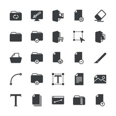 Modern Simple Set of folder, files, design Vector fill Icons. ..Contains such Icons as  erase, eraser,  document,  game,  work,  pen, ink and more on white background. Fully Editable. Pixel Perfect.