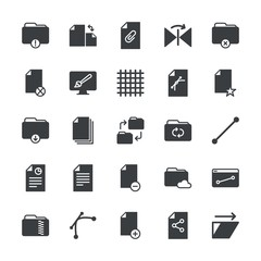 Modern Simple Set of folder, files, design Vector fill Icons. ..Contains such Icons as  drawing, data,  clip,  flip,  network,  trim, file and more on white background. Fully Editable. Pixel Perfect.