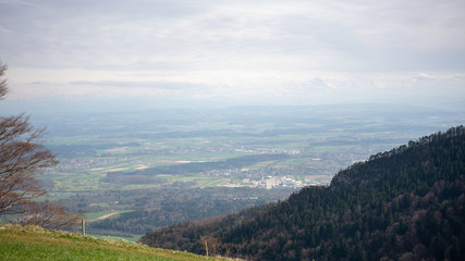 Panorama wallpaper view on alps from a amountain