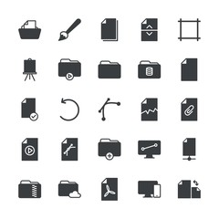 Modern Simple Set of folder, files, design Vector fill Icons. ..Contains such Icons as  document,  tablet,  vector,  brush,  circle,  sign and more on white background. Fully Editable. Pixel Perfect.